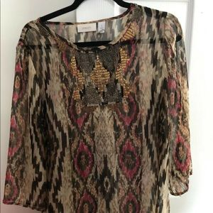 Chicos Beaded At Neck Top Size 1 3/4 Sleeve Sheer